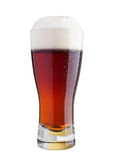 Glass of brown ale beer with foam isolated Royalty Free Stock Photos