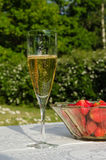 Glass of bubble and strawberries. Glass of sparkling wine and a bowl with strawberries on a table in a green garden Royalty Free Stock Images