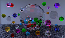 Glass bubbles. Colorful glass bubbles floating in the air, over a gray background, 3D illustration, raster illustration Stock Photography