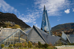 Glass building in Andorra stock images