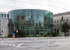 Glass building auditorium of the Academy of Music in Poznan. Stock Photos