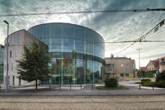 Glass building auditorium of the Academy of Music in Poznan. Stock Image