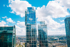 Glass building in the complex Moscow-City. Russia Stock Photography