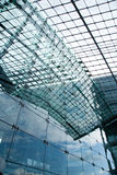 Glass building exterior. With sky reflection in germany train station Stock Images