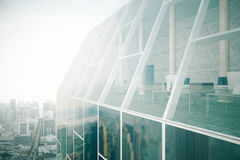Glass building exterior and interior Royalty Free Stock Images