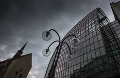 Glass building and lantern  in Cologne, Germany.  Stock Photo