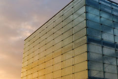Glass building. Steel and glass structure in the glow of the setting sun Royalty Free Stock Photography