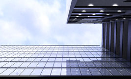 Glass building view from below with sky background. Glass building view from below with sky Royalty Free Stock Images