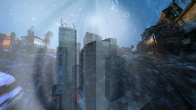 Glass buildings in a commercial street at underwater Royalty Free Stock Photos