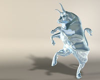 Glass bull. Digital 3d illustration of a statue representing a rampant glass bull royalty free illustration