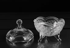 Glass bunke med ett lock Fotografering för Bildbyråer