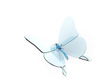 Glass butterfly. 3d on white royalty free illustration