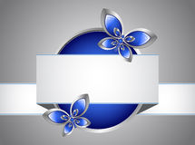 Glass butterfly and banner Stock Photos