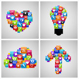 Glass Button Icon Set in Heart, Bulb, Cloud, Arrow Stock Photography