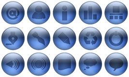 Glass Button Set 1 Stock Photos