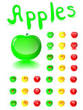 Glass a button web in the form of apples. Royalty Free Stock Photos