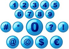 Glass buttons. Glass blue buttons with numbers royalty free illustration