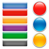Glass buttons. Shiny buttons for websites and more Royalty Free Stock Images