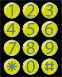 Glass buttons. With number (0-9 and asterisk with lattice Royalty Free Stock Image