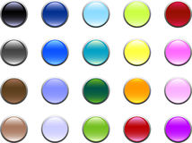 Glass Buttons. An assortment of 20 different colored glass buttons with silver rims vector illustration