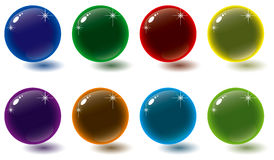 Glass buttons a. Colorful glass style orb buttons with shadows and sparkle Stock Images