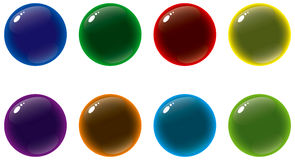 Glass buttons. Colorful glass style orb buttons stock illustration