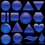 Glass Buttons - Blue Pack Royalty Free Stock Photos