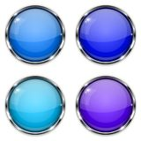 Glass buttons. Blue round 3d buttons with chrome frame Royalty Free Stock Images