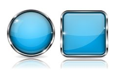 Glass buttons. Blue square and round 3d buttons with metal frame. With reflection on white background Stock Image
