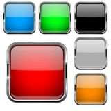Glass buttons with chrome frame. Colored set of shiny square 3d web icons. Vector illustration isolated on white background Stock Photos