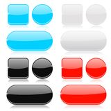 Glass buttons collection. Round, square and oval shiny icons. Vector 3d illustration Royalty Free Stock Photography
