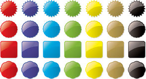 Glass buttons colored Stock Photo