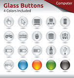 Glass Buttons - Computer. Glass Buttons for Web and Application Usage, 4 Color Variations Included Stock Photo