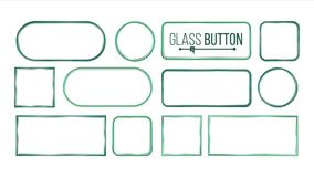 Glass Buttons, Frames Vector. Square, Round, Rectangular. Glass Plates Elements. Realistic Plates. Plastic Banners Royalty Free Stock Photo