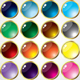 Glass Buttons and gold Frame. This image is a vector illustration and can be scaled to any size without loss of resolution. This image will download as a .eps Royalty Free Stock Image