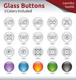 Glass Buttons - Laundry. Glass Buttons for Web Usage, Laungry and Textile Signs, 5 Color Variations Included Stock Photos