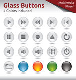 Glass Buttons - Multimedia Player. Glass Buttons for Web and Application Usage, Media Player, 4 Color Variations Included Royalty Free Stock Photography