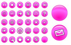 Glass buttons pink Royalty Free Stock Images