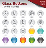 Glass Buttons - Planet Signs. Glass Buttons for Web Usage, Planet Signs, 7 Color Variations Included Royalty Free Stock Photography