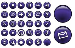 Glass buttons purple Royalty Free Stock Images