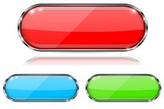 Glass buttons. Red, green and blue oval 3d buttons with metal frame. With reflection on white background. Vector illustration Stock Photos