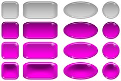 Glass buttons, set Stock Images