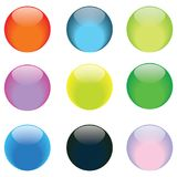 Glass buttons. Set of nine glass buttons royalty free illustration