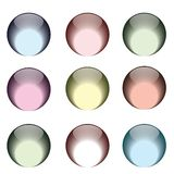 Glass buttons. Set of nine glass buttons Royalty Free Stock Photography