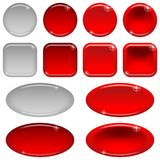 Glass buttons, set. Set of glass red buttons, computer icons, in various states - normal, illuminated, clicked, inactive. Elements for web design, isolated on Stock Photography