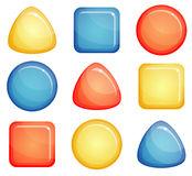 Glass buttons shapes Stock Photo