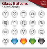 Glass Buttons - Signs of the Zodiac. Glass Buttons for Web Usage, Signs of the Zodiac, 4 Color Variations Included Stock Images