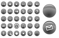 Glass buttons silver. Some grey glassy interface navigation buttons Stock Photos