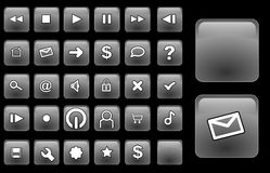 Glass buttons silver. Some grey glassy interface navigation buttons Stock Images