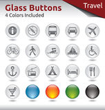 Glass Buttons Travel. Glass Buttons for Web Usage, Travel and Holidays, 4 Color Variations Included Royalty Free Stock Photography